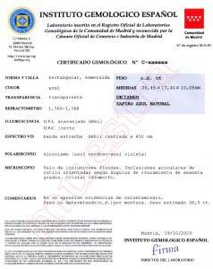 Certificado gemológico (zafiro)