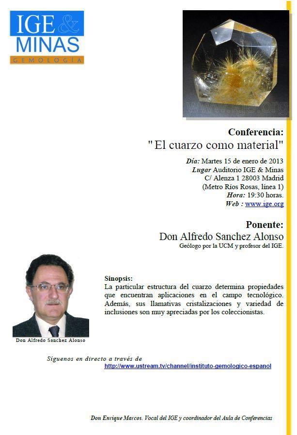 Conferencia: El cuarzo como material