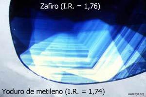 Observación de la zonalidad en un zafiro sumergido en yoduro de metileno.