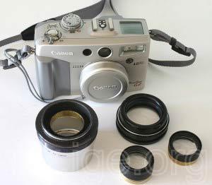 Diferentes lentes de aproximación para cámaras compactas y ejemplo de soporte para lentes.